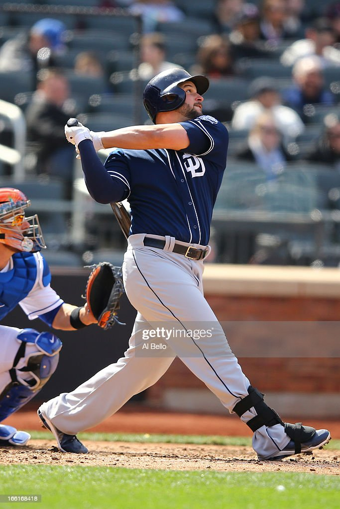 <a gi-track='captionPersonalityLinkClicked' href=/galleries/search?phrase=Yonder+Alonso&family=editorial&specificpeople=4424898 ng-click='$event.stopPropagation()'>Yonder Alonso</a> #23 of the San Diego Padres in action against the New York Mets during their game on April 4, 2013 at Citi Field in the Flushing neighborhood of the Queens borough of New York City.