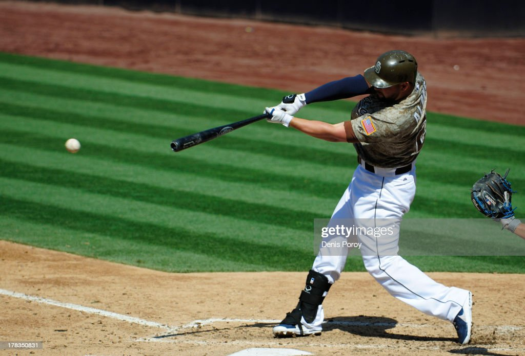 Yonder Alonso of the San Diego Padres plays during a baseball game against the Chicago Cubs at Petco Park on August 25 2013 in San Diego California