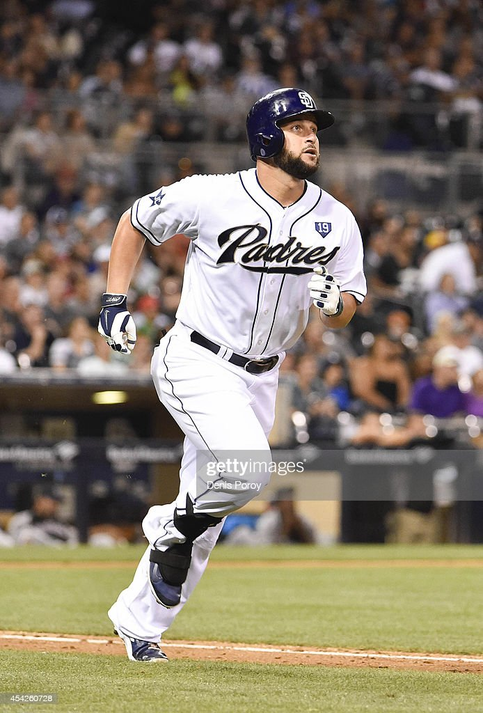 Yonder Alonso of the San Diego Padres plays during a baseball game against the Colorado Rockies at Petco Park August 11 2014 in San Diego California