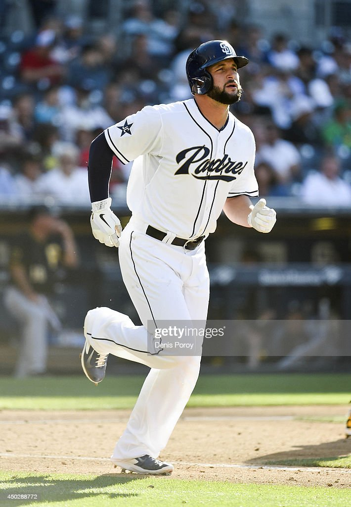 Yonder Alonso of the San Diego Padres plays during the game against the Pittsburgh Pirates at Petco Park June 4 2014 in San Diego California