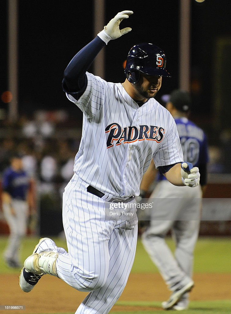 <a gi-track='captionPersonalityLinkClicked' href=/galleries/search?phrase=Yonder+Alonso&family=editorial&specificpeople=4424898 ng-click='$event.stopPropagation()'>Yonder Alonso</a> #23 of the San Diego Padres rounds the bases after hitting a grand slam during the first inning of a baseball game against the Colorado Rockies at Petco Park on September 14, 2012 in San Diego, California.