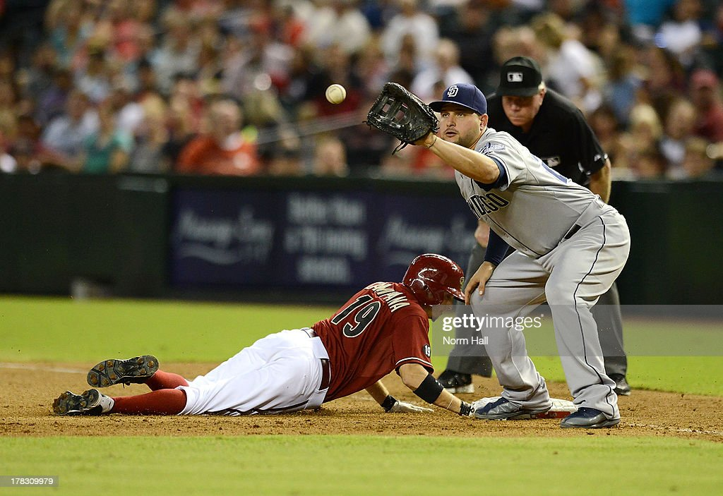 <a gi-track='captionPersonalityLinkClicked' href=/galleries/search?phrase=Yonder+Alonso&family=editorial&specificpeople=4424898 ng-click='$event.stopPropagation()'>Yonder Alonso</a> #23 of the San Diego Padres waits for the ball as <a gi-track='captionPersonalityLinkClicked' href=/galleries/search?phrase=Tony+Campana&family=editorial&specificpeople=7800014 ng-click='$event.stopPropagation()'>Tony Campana</a> #19 of the Arizona Diamondbacks dives back to first base at Chase Field on August 28, 2013 in Phoenix, Arizona.