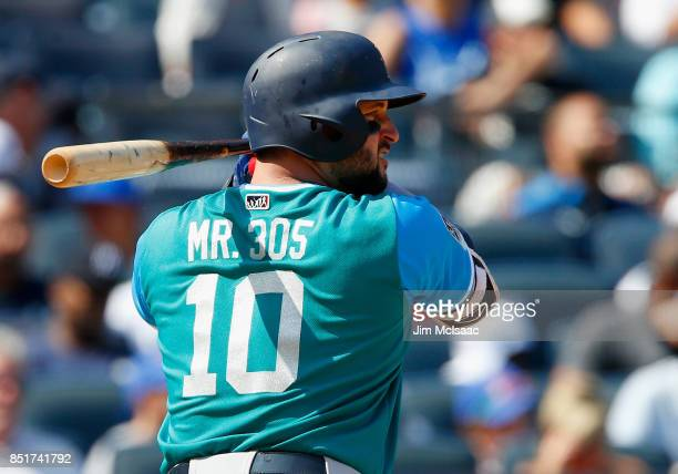 Yonder Alonso of the Seattle Mariners in action against the New York Yankees at Yankee Stadium on August 26 2017 in the Bronx borough of New York...