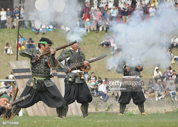 Yonezawa Japan People take part in a reenactment of the Battles of Kawanakajima between rival warlords Uesugi Kenshin and Takeda Shingen in the...