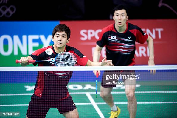 Yong Dae and YOO Yeon Seong of Korea in action during Day Two at the MetLife BWF World Superseries Premier Yonex Denmark Open Badminton at Odense...