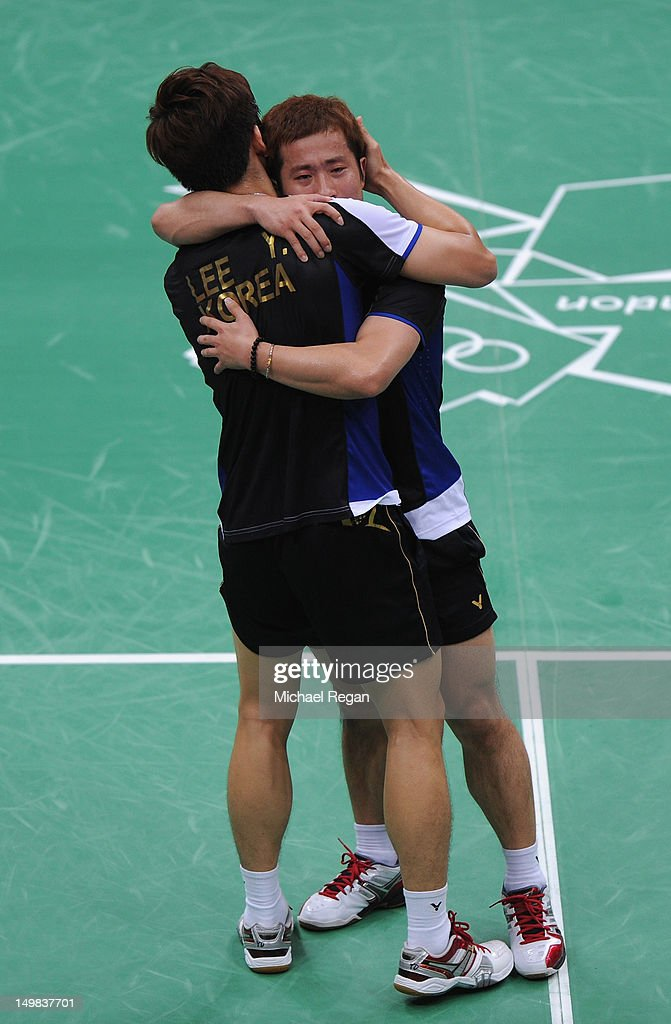 Yong Dae Lee and Jae Sung Chung (R) of Korea celebrate winning their Men's Doubles Badminton Bronze Medal match against Boon Heong Tan and Kien Keat Koo of Malaysia during Badminton on Day 9 of the London 2012 Olympic Games at Wembley Arena on August 5, 2012 in London, England.