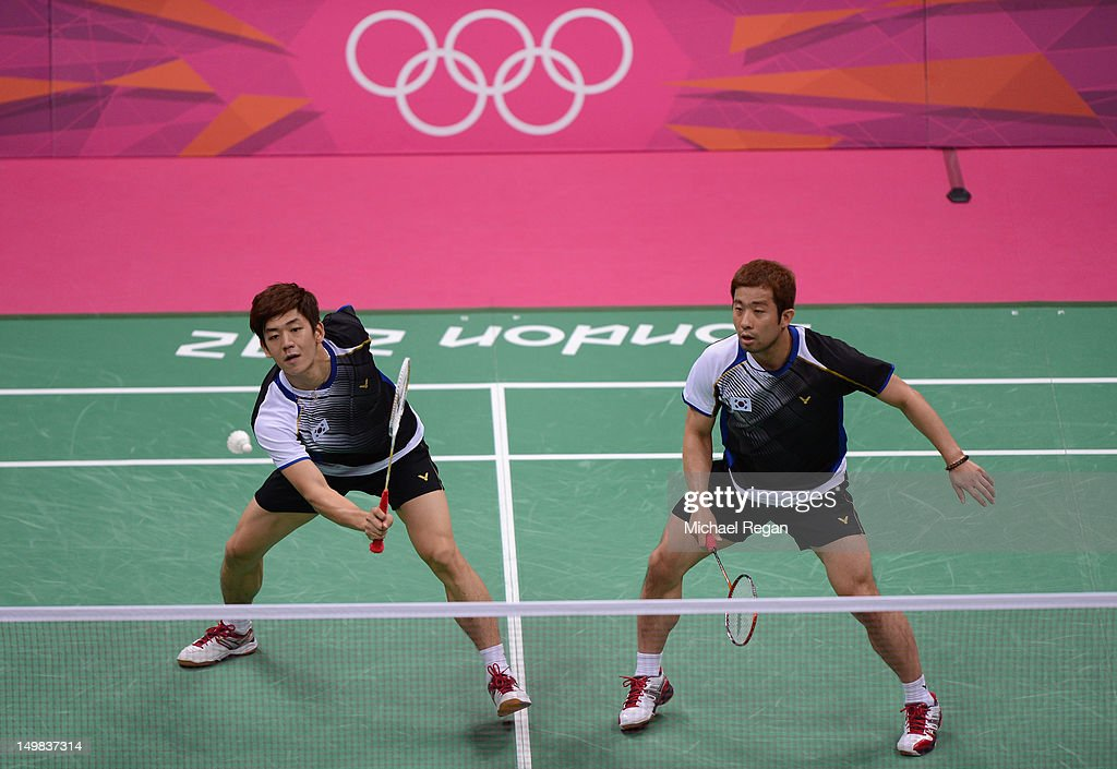 Yong Dae Lee and Jae Sung Chung (R) of Korea compete in their Men's Doubles Badminton Bronze Medal match during Badminton on Day 9 of the London 2012 Olympic Games at Wembley Arena on August 5, 2012 in London, England.
