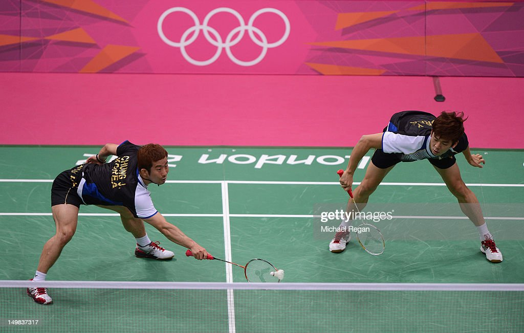Yong Dae Lee and Jae Sung Chung (L) of Korea compete in their Men's Doubles Badminton Bronze Medal match during Badminton on Day 9 of the London 2012 Olympic Games at Wembley Arena on August 5, 2012 in London, England.
