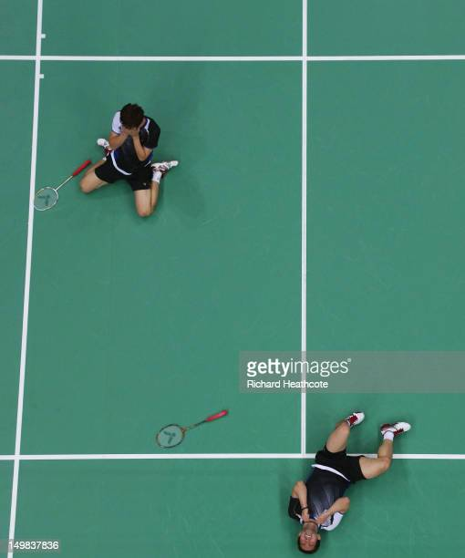 Yong Dae Lee and Jae Sung Chung of Korea react after winning their Men's Doubles Badminton Bronze Medal match against Boon Heong Tan and Kien Keat...
