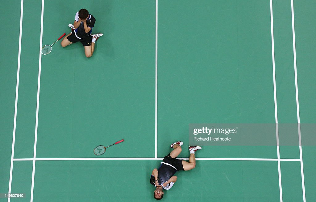 Yong Dae Lee and Jae Sung Chung (R) of Korea react after winning their Men's Doubles Badminton Bronze Medal match against Boon Heong Tan and Kien Keat Koo of Malaysia during Badminton on Day 9 of the London 2012 Olympic Games at Wembley Arena on August 5, 2012 in London, England.