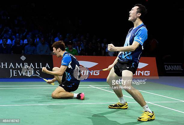 Yong Dae Lee and Yeon Seong Yoo of Korea celebrate a point in the mens double final during the LiNing BWF World Badminton Championships at Ballerup...