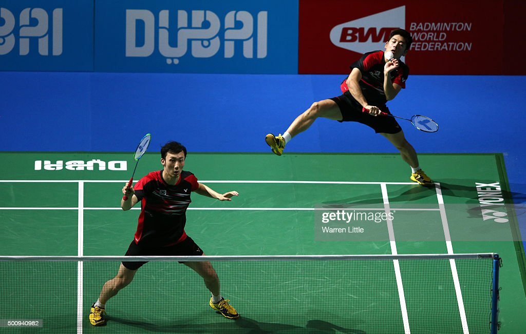 Yong Dae Lee and Yeon Seong Yoo of Korea in action against Hiroyuki Endo and Kenichi Hayakawa of Japan in the Men's Double match during day three of the BWF Dubai World Superseries 2015 Finals at the Hamdan Sports Complex on December 11, 2015 in Dubai, United Arab Emirates.