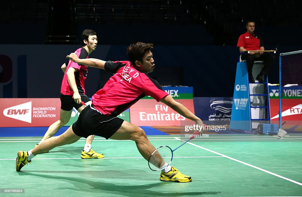 Yong Dae Lee and Yeon Seong Yoo of Korea in action against Mohammad Ahsan and HendraSetiawan of Indonesia in the Men's Doubles match during day two of the BWF Dubai World Superseries 2015 Finals at the Hamdan Sports Complex on December 10, 2015 in Dubai, United Arab Emirates.