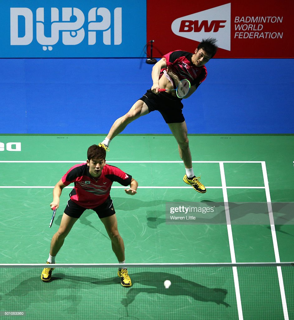 Yong Dae Lee and Yeon Seong Yoo of Korea in action against Mohammad Ahsan and Hendra Setiawan of Indonesia in the Men's Doubles semi final match during day four of the BWF Dubai World Superseries 2015 Finals at the Hamdan Sports Complex on December 12, 2015 in Dubai, United Arab Emirates.