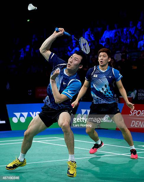 Yong Dae Lee and Yeon Seong Yoo of Korea in action during the Mens Double final during the Yonex Denmark Open MetLife BWF World Superseries at Odense...
