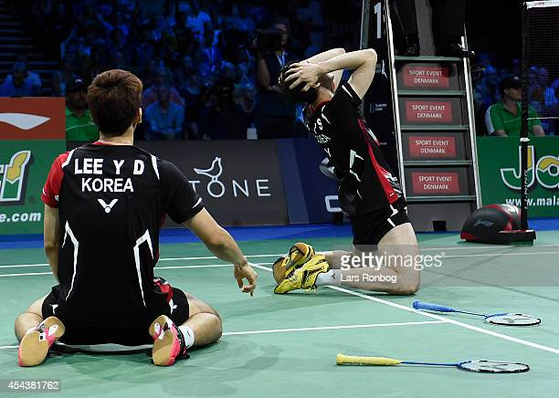 Yong Dae Lee and Yeon Seong Yoo of Korea winning against Mathias Boe and Carsten Mogensen of Denmark in the semifinals during the LiNing BWF World...