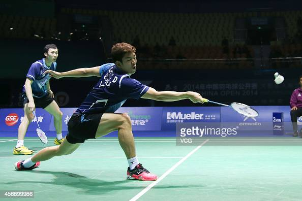 Yong Dae Lee and Yeon Seong Yoo of South Korea in action during the Men's Doubles match against Chayut Triyachart and Danny Bawa Chrisnanta of...