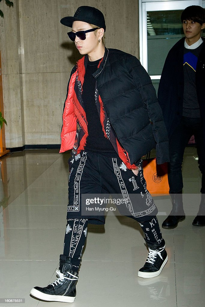 Yong Jun-Hyung of South Korean boy band Beast is seen at Gimpo International Airport on February 6, 2013 in Seoul, South Korea.