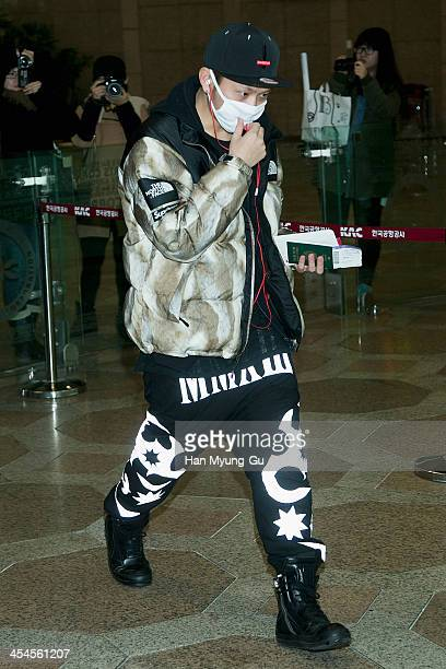 Yong JunHyung of South Korean boy band Beast is seen on departure at Gimpo International Airport on December 9 2013 in Seoul South Korea