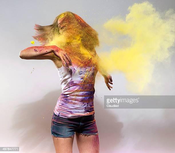 Yong woman shaking her dirty hair