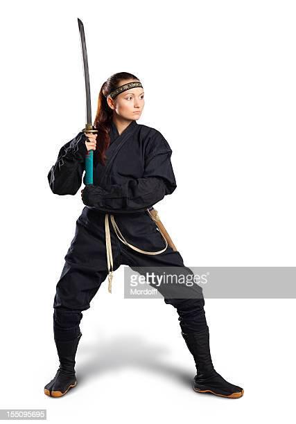 Yong Femme d'affaires prêt à se battre. Isolé sur blanc