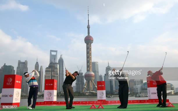 YongEun Yang of South Korea Phil MickelsonTiger Woods and Sergio Garcia of Spain hit shots near the Huangpu River during the Official 2009 WGCHSBC...