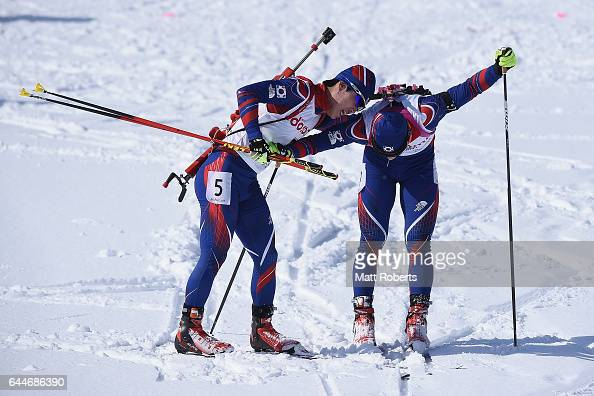 Yonggyu Kim and Jongmin Kim of Korea compete in the men's biathlon 125 km pursuit on day seven of the 2017 Sapporo Asian Winter Games at Nishioka...
