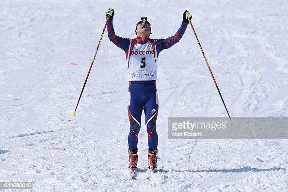 Yonggyu Kim of Korea celebrates his third place in the men's biathlon 125 km pursuit on day seven of the 2017 Sapporo Asian Winter Games at Nishioka...