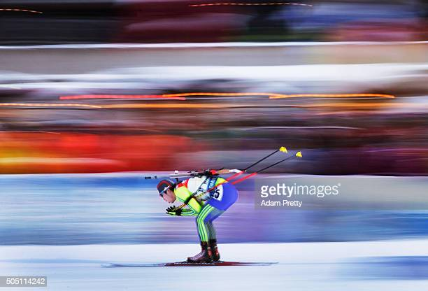 Yonggyu Kim of South Korea in action during the Men's 4x75km relay of the Ruhpolding IBU Biathlon World Cup on January 15 2016 in Ruhpolding Germany
