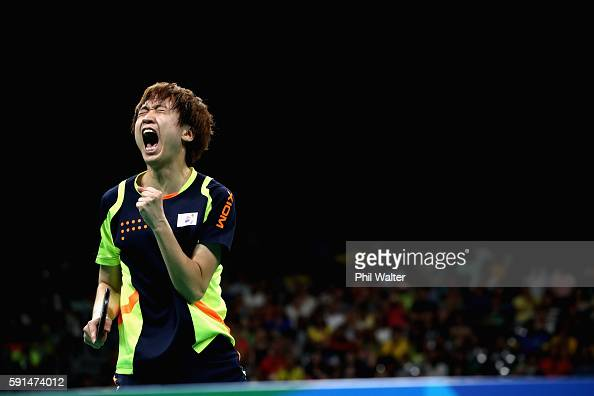 Yongsik Jeoung of Korea celebrates a point during the Men's Team Bronze Medal match between Korea and Germany at the Rio Centro Pavilion on August 17...