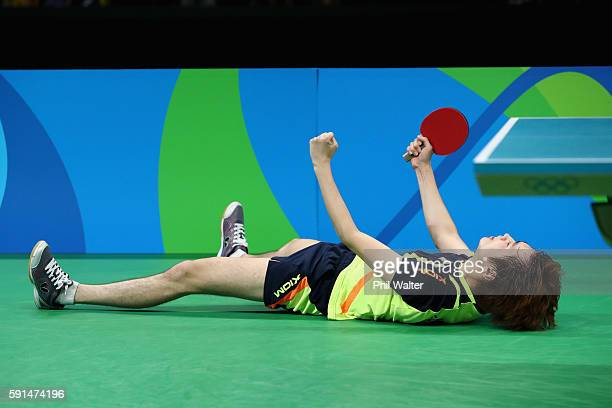 Yongsik Jeoung of Korea celebrates during the Men's Team Bronze Medal match between Korea and Germany at the Rio Centro Pavilion on August 17 2016 in...