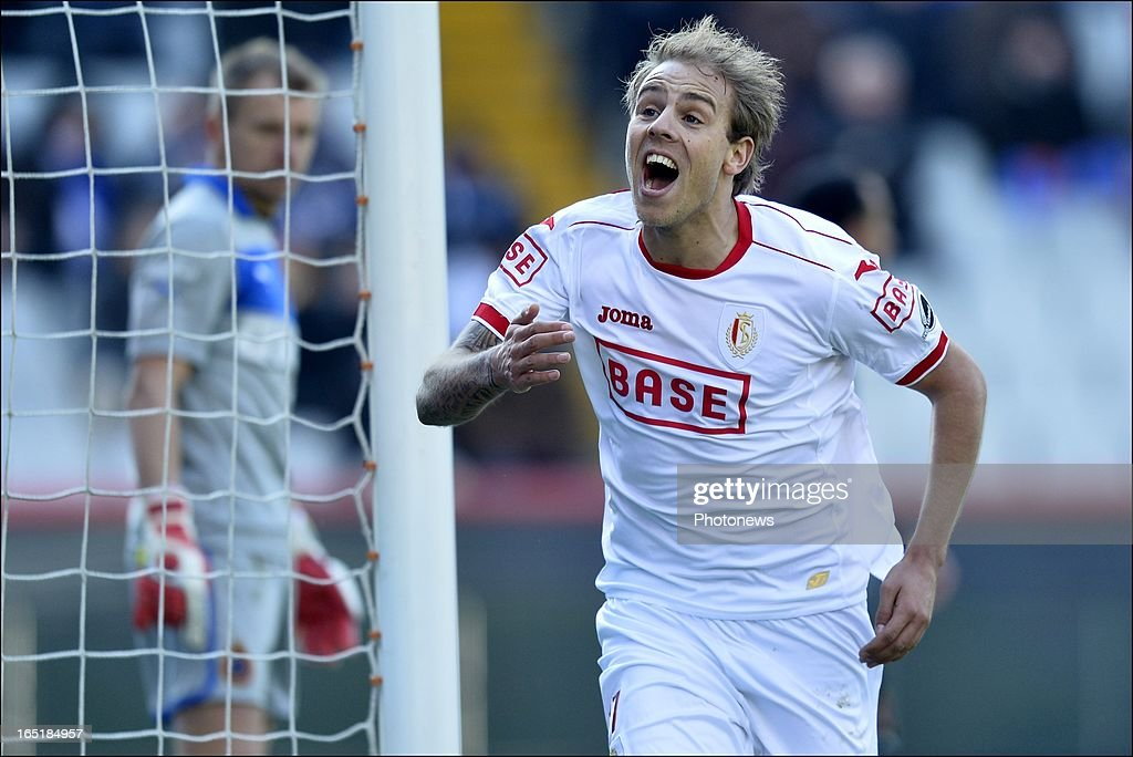 Yoni Buyens of Standard celebrates scoring a goal during the Jupiler League match between Club Brugge and Standard de Liege , in the Jan Breydel Stadium on April 01, 2013 in Brugge, Belgium.