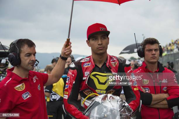 Yonny Hernandez of Colombia and AGR Team prepares to start on the grid during the Moto2 race during the MotoGp of Italy Race at Mugello Circuit on...