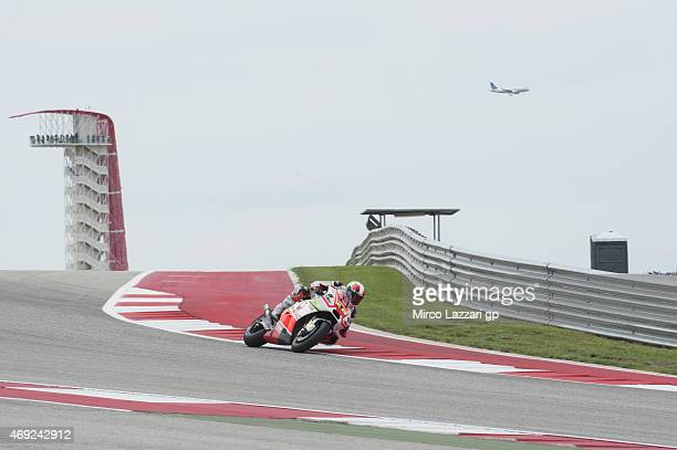 Yonny Hernandez of Colombia and Energy TI Pramac Racing rounds the bend during the MotoGp Red Bull US Grand Prix of The Americas Free Practice at...