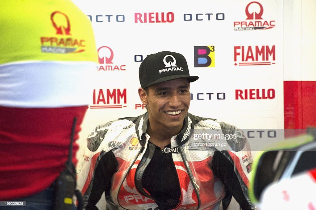 Yonny Hernandez of Colombia and Energy T.I. Pramac Racing smiles in box during the MotoGp Red Bull U.S. Grand Prix of The Americas - Free Practice at Circuit of The Americas on April 10, 2015 in Austin, Texas.