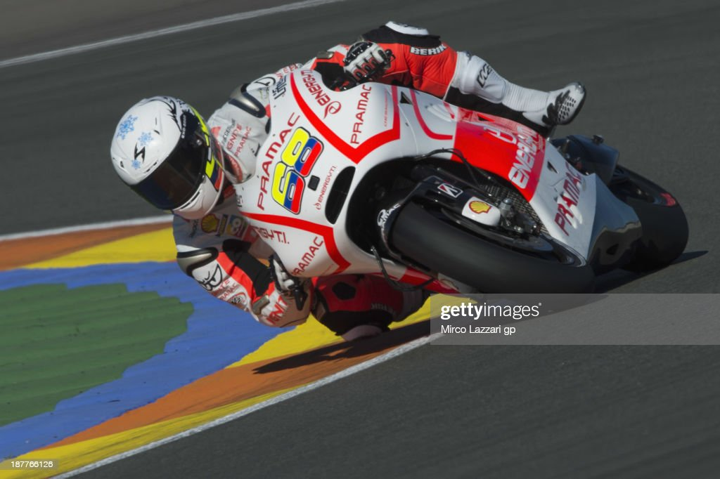 Yonny Hernandez of Colombia and Ignite Pramac Racing Team rounds the bend during the MotoGP Tests in Valencia - Day 2 at Ricardo Tormo Circuit on November 12, 2013 in Valencia, Spain.