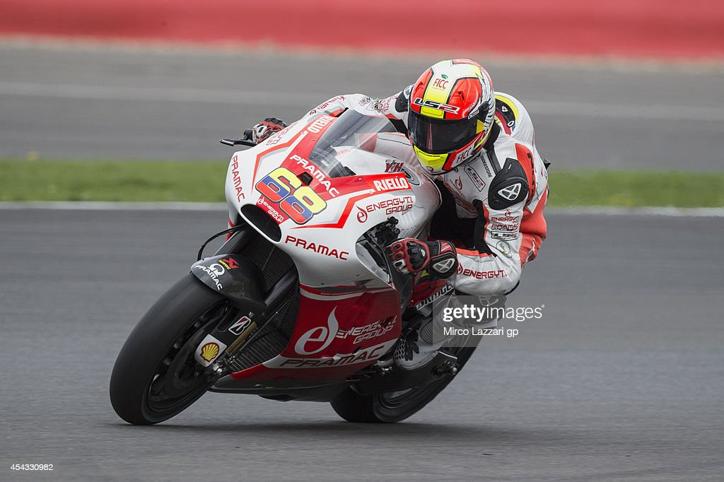 Yonny Hernandez of Colombia and Pramac Racing heads down a straight during the MotoGp Of Great Britain - Free Practice at Silverstone Circuit on August 29, 2014 in Northampton, United Kingdom.