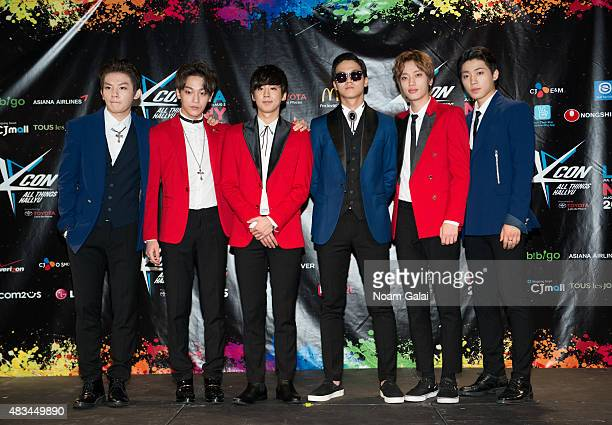 Yoo ChanghyunLee Byunghun Lee Chanhee Bang Minsoo Ahn Daniel and Choi Jonghyun of 'Teen Top' attend the 2015 KPop Festival at Prudential Center on...