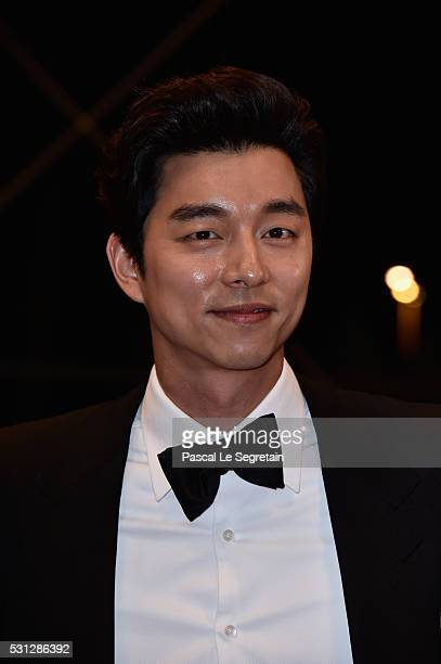 Yoo Gong attends the 'Train To Busan ' premiere during the 69th annual Cannes Film Festival at the Palais des Festivals on May 13 2016 in Cannes...