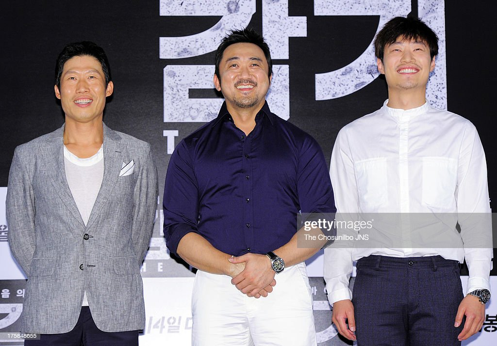Yoo Hae-Jin, Ma Dong-Seok and Lee Hee-Jun attend the 'The Flu' press conference at Wangsimni CGV on August 7, 2013 in Seoul, South Korea.