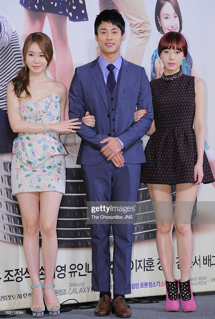 Yoo In-Na, Ko Joo-Won and Bae Green attend the KBS 2TV 'You're The Best Lee Soon-Shin' Press Conference at Seoul Plaza on March 4, 2013 in Seoul, South Korea.