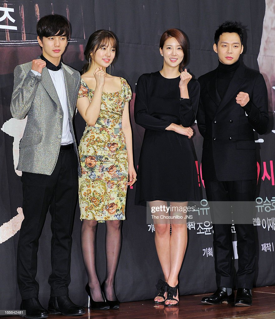 Yoo Seung-Ho, Yoon Eun-Hye, Jang Mi In Ae, and Park Yoo-Chun attend the MBC Drama 'Missing You' Press Conference at lotte hotel on November 1, 2012 in Seoul, South Korea.