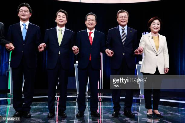 Yoo Seungmin the presidential candidate of the Bareun Party Ahn Cheolsoo the presidential candidate of the People's Party Hong Joonpyo the...