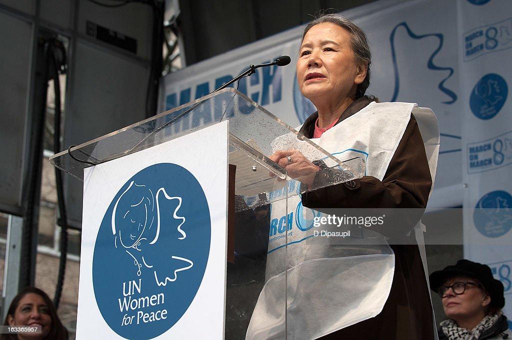 Yoo Soon-taek, wife of United Nations Secretary-General Ban Ki-moon, speaks on stage during the March On March 8 at the United Nations on March 8, 2013 in New York City.