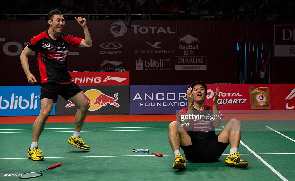 Yoo Yeon Seong and Lee Yong Dae of South Korea celebrate after winning Fu Haifeng and Zhang Nan of China in Men's Doubles match in 2015 BWF World Championship at Istora Senayan on August 14, 2015 in Jakarta, Indonesia.