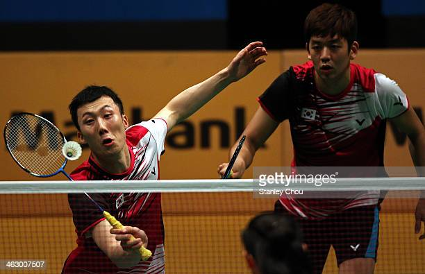 Yoo Yeon Seong and Lee Yong Dae of South Korea in action during day three of the Men's Doubles of the Malaysia Badminton Open on January 16 2014 in...