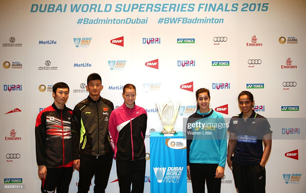 Yoo Yeon Seong of Korea , Chen Long of China, Christinna Pedersen of Demark, Carolina Marin of Spain and Saina Nehwal of India pose for a group picture after the draw and press conference ahead of the BWF Dubai World Superseries Finals at the InterContinental Dubai Festival City on December 7, 2015 in Dubai, United Arab Emirates.
