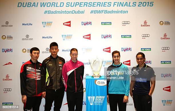 Yoo Yeon Seong of Korea Chen Long of China Christinna Pedersen of Demark Carolina Marin of Spain and Saina Nehwal of India pose for a group picture...