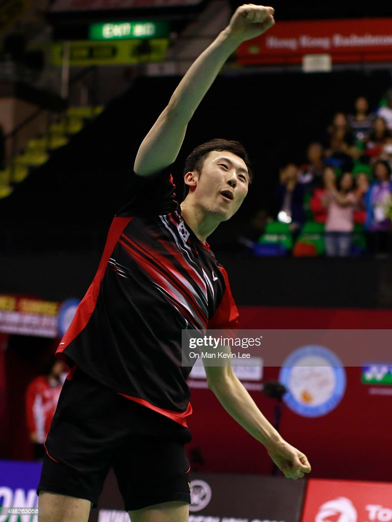 Yoo Yeon Seong of Korea reacts after the match between Yoo Yeon Seong and Lee Yong Dae and Mathias Boe and Carsten Mogensen of Denmark at the final round of Men's Double of Yonex-Sunsrise Hong Kong Open 2015 on November 22, 2015 in Hong Kong, Hong Kong.