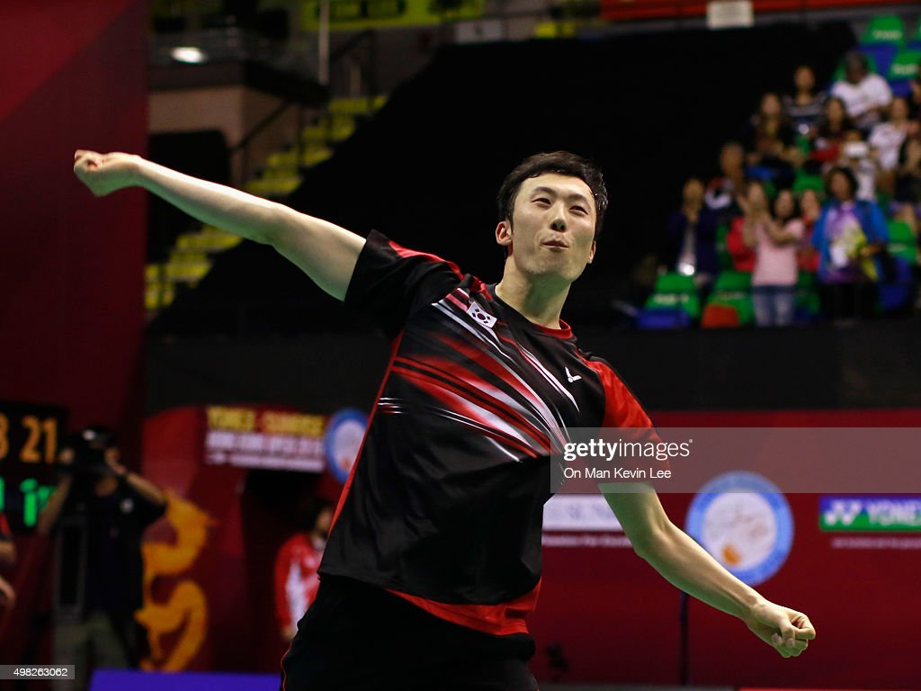 Yoo Yeon Seong of Korea reacts after the match between Yoo Yeon Seong and Lee Yong Dae and Mathias Boe and Carsten Mogensen of Denmark at the final round of Men's Double of Yonex-Sunsrise Hong Kong Open 2015 on November 22, 2015 in Hong Kong, Hong Kong.
